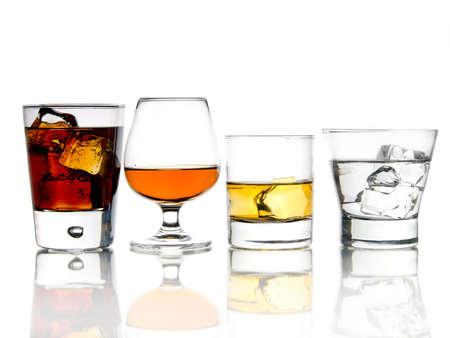 Various alcohol cocktails on white background Standard-Bild