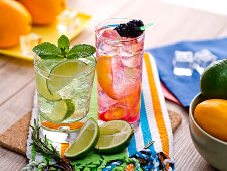 wedge: Two refreshing summer cocktails with lime, mint, cranberry on a table Stock Photo