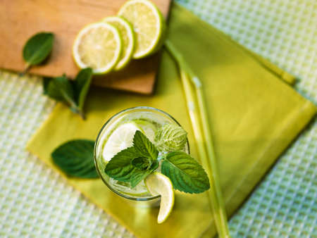 Refreshing summer cocktail with lime and mint Reklamní fotografie
