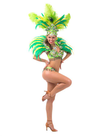 Female samba dancer wearing colorful costume over white background Stock fotó