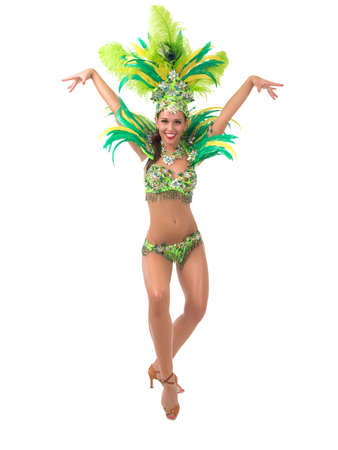 Female samba dancer wearing colorful costume over white background Stock Photo