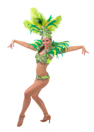 Female samba dancer wearing colorful costume over white background Standard-Bild