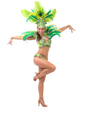 Weibliche Samba-Tänzer in bunten Kostümen auf weißem Hintergrund Standard-Bild - 34281226
