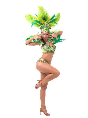 Weibliche Samba-Tänzer in bunten Kostümen auf weißem Hintergrund Standard-Bild - 34296524