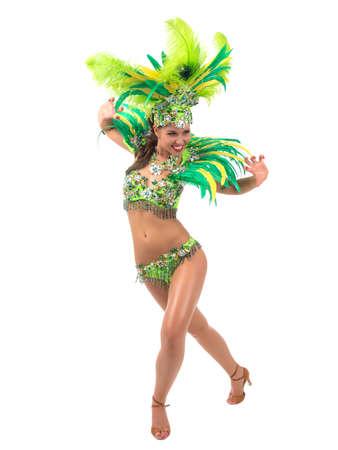 Female samba dancer wearing colorful costume over white background Standard-Bild