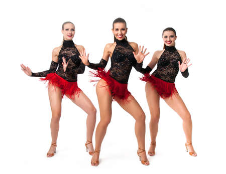 showgirl: Tango dancers in red and black over white background Stock Photo