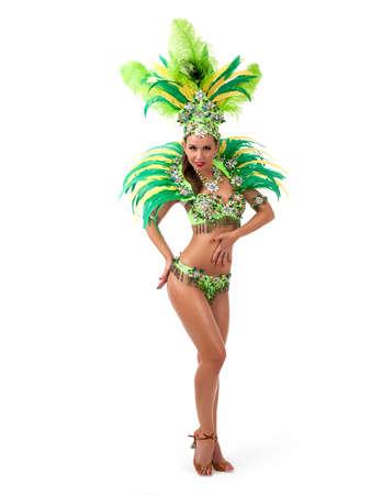 Female samba dancer wearing colorful costume over white background Stock Photo