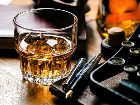 Writers night with a glass of whiskey