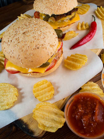 junk: Freshly made burgers with crisps