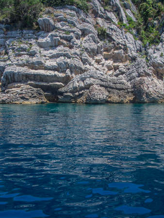 Rockey shore and clear blue sea of Adriatics in Montenegro