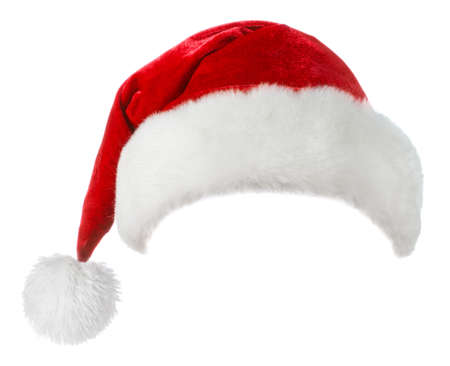 Santa Claus red hat isolated on white background Zdjęcie Seryjne