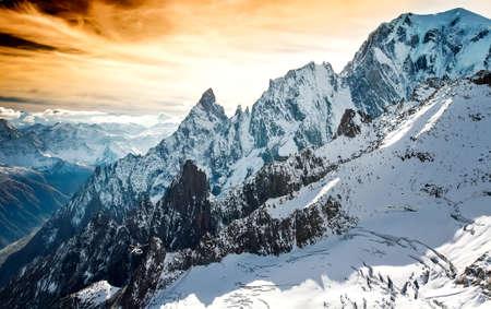 courmayeur: Mont Blanc, Courmayeur, Italy helcopter Stock Photo