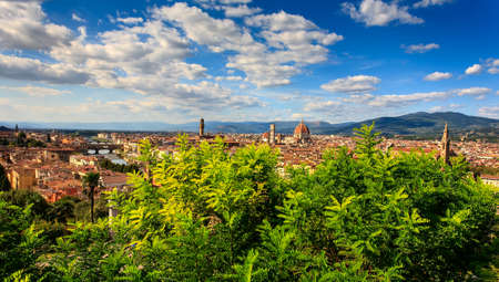 Aerial View over the Historic City of Florence, Tuscany, Italy