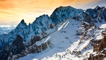 courmayeur: Mont Blanc, Courmayeur Italy helcopter sky clouds Stock Photo