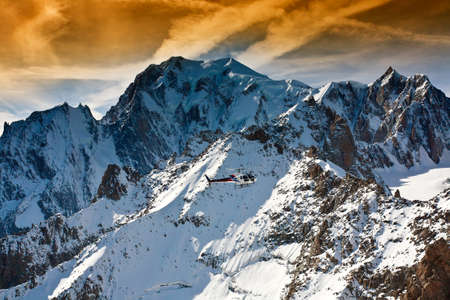 courmayeur: Mont Blanc, Courmayeur Italy helcopter sky clouds Stock Photo