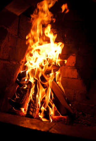 fireplace home: Fire in a fireplace home warm holyday