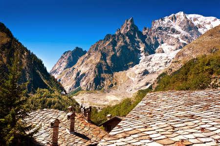 courmayeur: Mont Blanc, Courmayeur Italy sky clouds roof Stock Photo