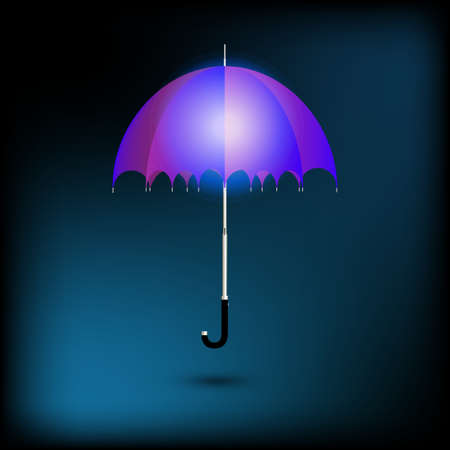 open blue umbrella under rain light Illustration