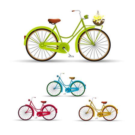 mode of transport: Retro Bike illustration flowers