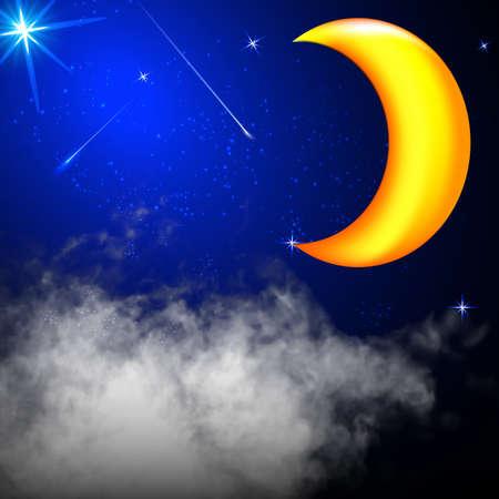 night sky stars clouds moon vector