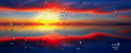 water drops on glass. Sea,sky. clouds . sunset. vector Illustration