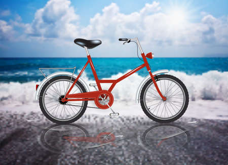 Vector Red Bicycle Sea Sun beach summer reflection Illustration