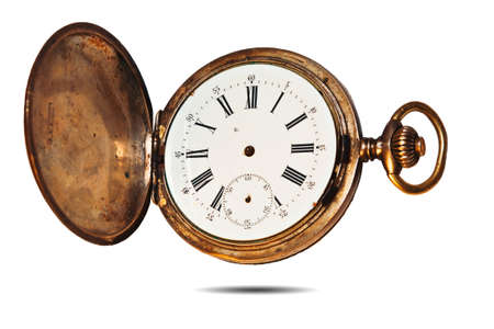 golden old pocket watch by the time