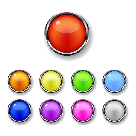 A set of glossy metal trimmed colorful round buttons Stock Vector - 9345429