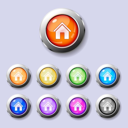 A set of glossy metal trimmed colorful round buttons Home Vector