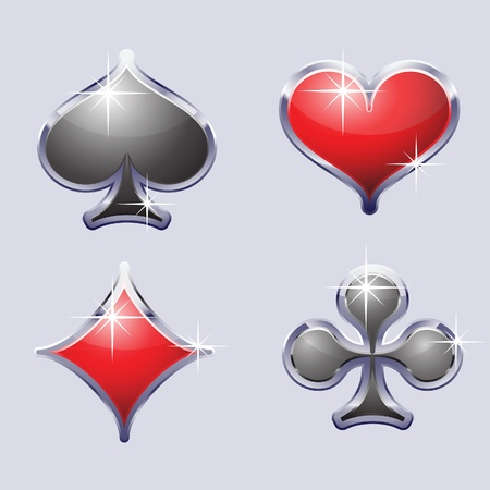playing card set symbols: A set of playing card suit, including spades, diamonds, hearts, clubs Illustration