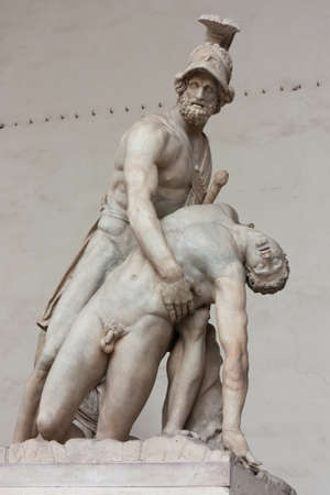 Menelaus supporting the body of Patroclus in the Loggia dei Lanzi, Florence, Italy Originally an ancient Roman sculpture, restored in the Middle Ages  photo