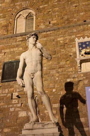 Famous statue of David in Pizza della Signoria in Firenze near Palazzo Vecchio by night photo