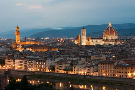 vechio: Night view of cathedral Santa Maria in Firenze Stock Photo