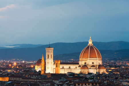 firenze: Night view of cathedral Santa Maria in Firenze Stock Photo