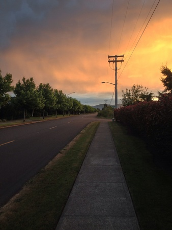 Thick clouds during sunset
