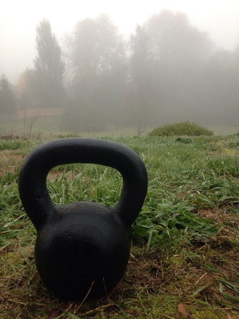 Kettlebell sitting on the grass in the morning.