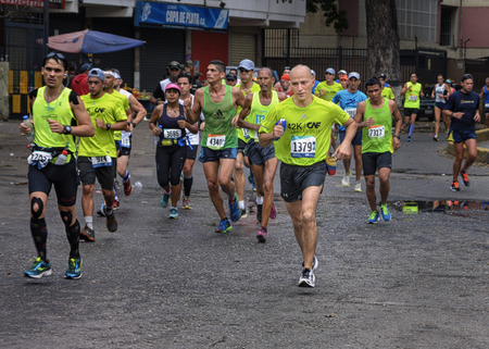 caracas: Caracas, Venezuela - April 24, 2016: runners at CAF Marathon 42K