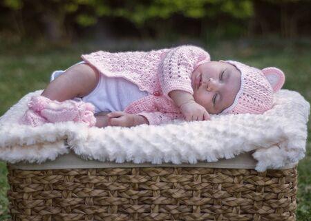 A newborn baby girl sleeping in a basket, in the garden. Peacfully.