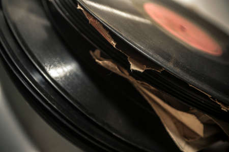 dusty: Close-up of old dusty vinyl records Stock Photo