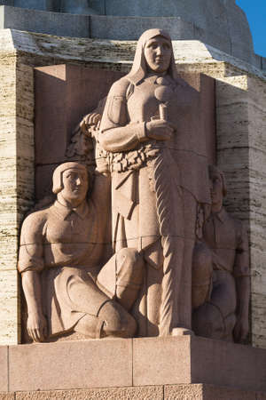 sovereignty: Sculptural composition on the basis of Stella Freedom Monument in Riga, Latvia a bright sunny day Stock Photo