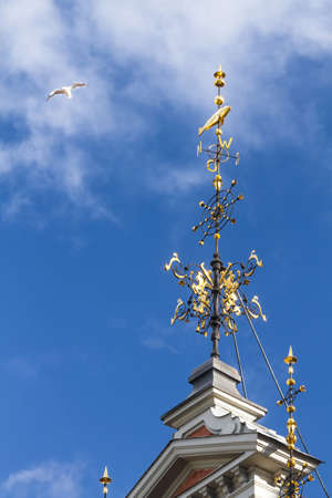 heads old building facade: Golden spire with a compass and fish on top on the roof of the House of the Blackheads in Riga, Latvia