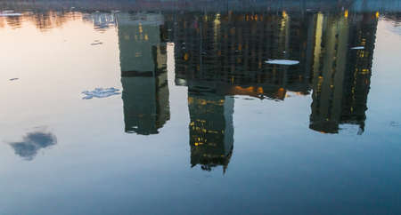 Main Moscow city center located at the capital of Russia on the Moscow river shore at winter evening with reflections on water 版權商用圖片
