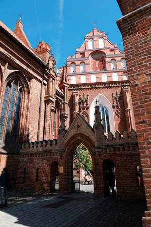 St. Anne's Red-Catholic Catholic Church in the historical center of Vilnius in Lithuania on a bright sunny summer day