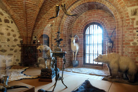Trakai, Lithuania - 1 June 2019: Interiors of Trakai medieval island Castle in Lithuania 新聞圖片