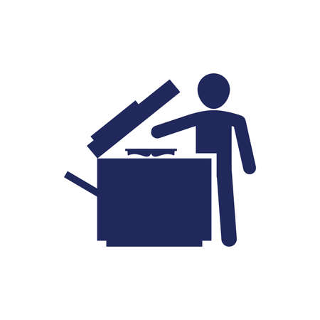 multifunction printer: Man using a photocopy machine concept illustration icon. Teacher make copies concept illustration icon. Businessman using public printer concept illustration icon.