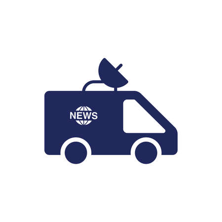 news van: News van concept illustration icon. Vehicle concept illustration icon. News concept illustration icon.