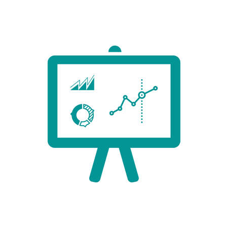presentation board: Presentation board concept illustration icon. Chart figures analysis concept illustration icon. Education concept illustration icon. Business concept illustration icon.