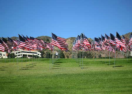 American flags to Malibu, California, USA, patriotism