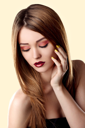 Bright Trendy Makeup. Make-up Face Young Woman. Stock Photo