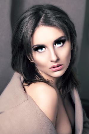 Beauty Fashion Glamorous Model Girl Portrait. Vintage Style.